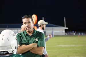 Alma coach Bert Adams looks on during a recent game between the sixth grade Airedales and the Paris Eagles. Alma won, 26-0.