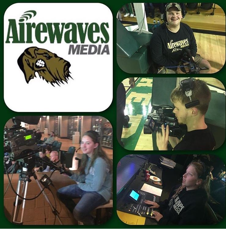 Airewaves Media working the video board for Basketball season.  We love our Airedales!