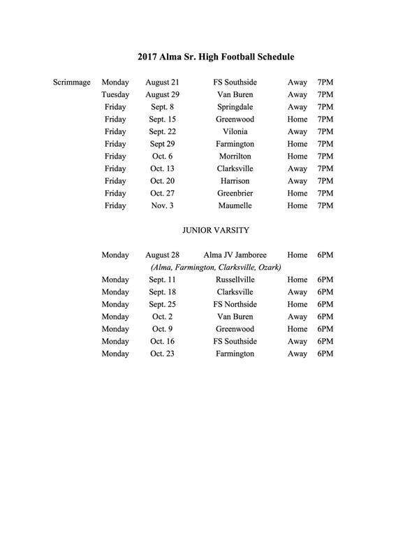 Image of Football Schedule